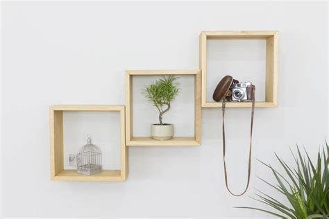 Square Shelves by Cube Wall Shelves Set Of Three Solid Oak Square Shelves By