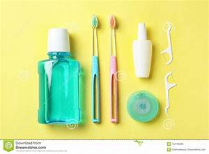 Flat Lay Composition With Manual Toothbrushes And Oral