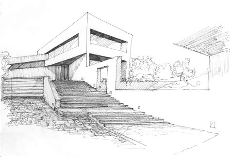 Drawn House Modern Architectural Design  Pencil And In
