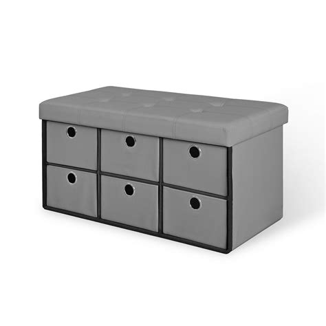 Benches With Drawers by Gray Folding Storage Bench With Drawers 66114 The Home Depot
