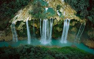 Waterfall, River, Cliff, Forest, Mexico, Aerial, View, Nature, Landscape, Wallpapers, Hd, Desktop