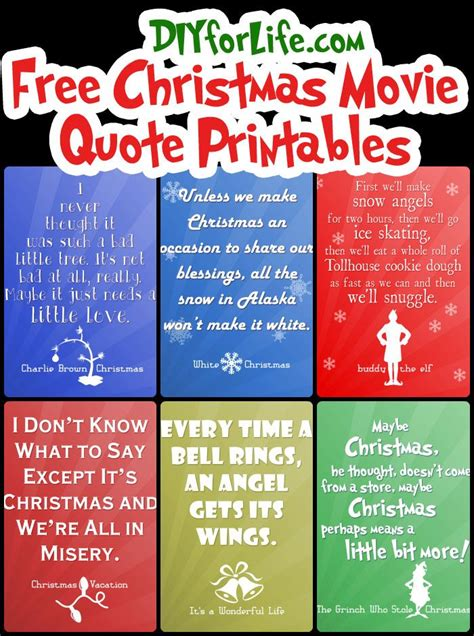 Most popular holiday quotes from a christmas carol, it's a wonderful life, christmas story, charlie brown and the grinch will be sure to make you smile as you fondly remember these classic holiday movies. Free Christmas Printables with Favorite Movie Quotes ...