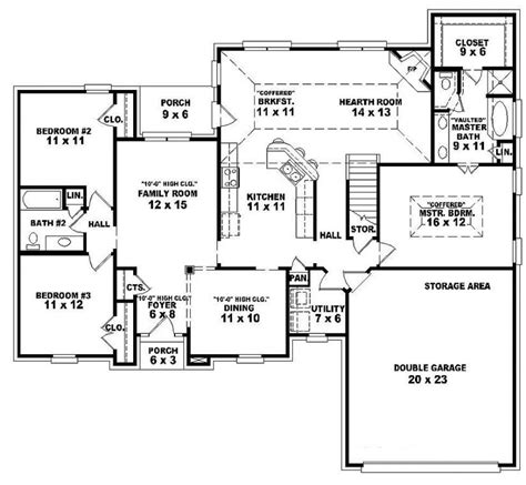 single story open floor plans  story  bedroom