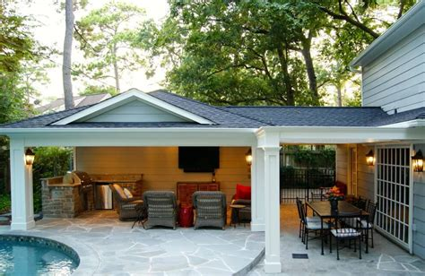 patio cover built garage outdoor kitchen in memorial