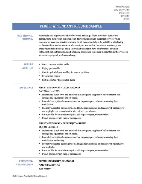 Resume Sle For Flight Attendant by 2016 2017 Resume Flight Attendant 28 Images Flight