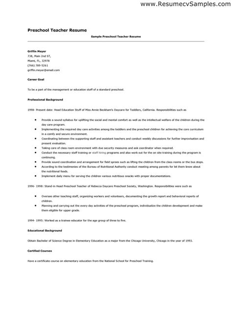 preschool resume samples preschool teacher resume whitneyport daily com
