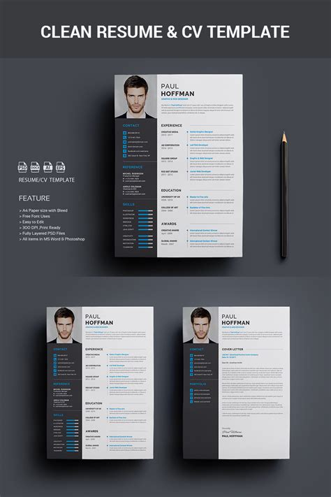 premium resume cv paul hoffman resume template 65458