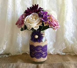 Purple Burlap And Lace Covered Mason Jar Vase Wedding