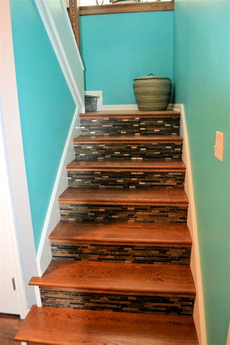 wood tile stairs stairs with wood and tile tile design ideas