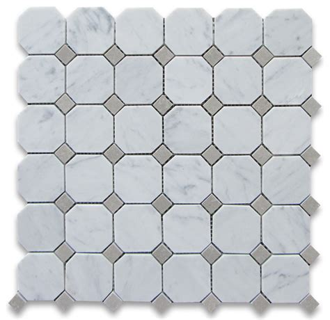 carrara white marble octagon mosaic tile gray dots 2 inch