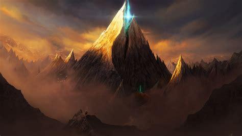 wallpaper magic surreal mountains warrior castle