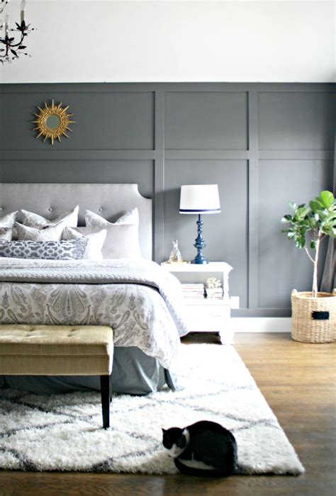 dark gray accent wall decorating  home bedroom