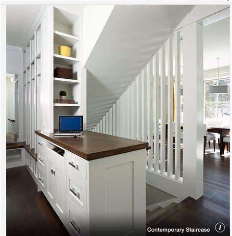 open stairs  basement  love  built ins kitchen