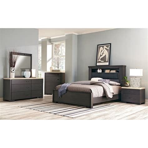 camino 7 piece queen bedroom charcoal and ivory value city furniture