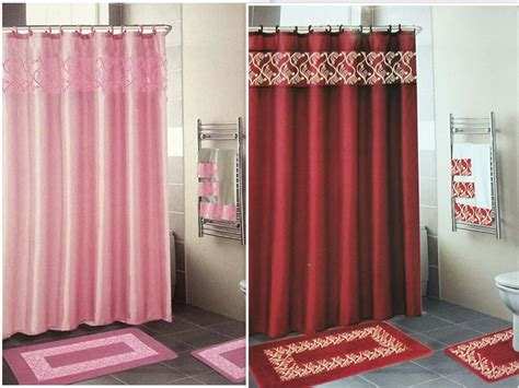 Shower Curtains : 18 Piece Embroidered Bathroom Set Bath Rugs Shower Curtain