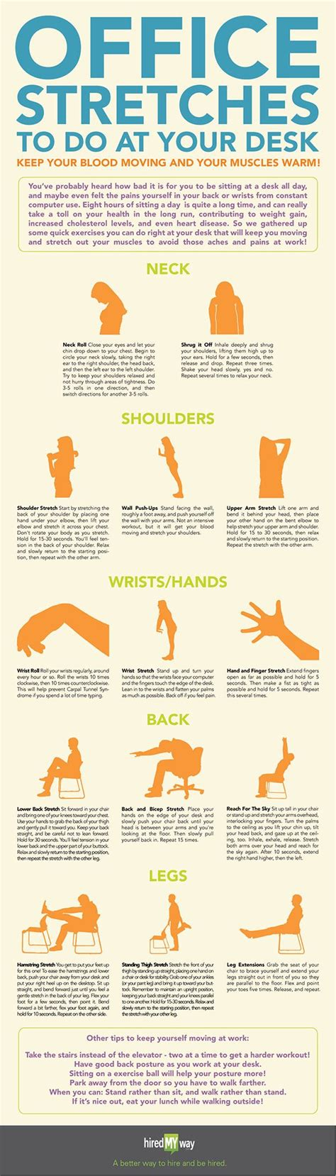 how to exercise at your desk office stretches to do at your desk infographic best