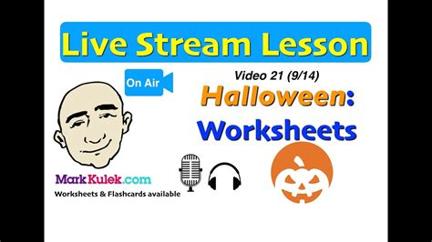 Mark Kulek Live Stream  21  Halloween Worksheets  Questions  English For Communication Esl
