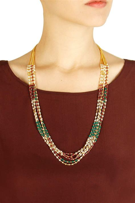 gold finish ruby pearl and green onyx string necklace available only at pernia s pop up