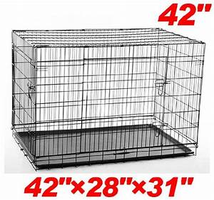 pawhut 42 2 door folding wire pet dog crate 42 l x 28 w x With 2 x 3 dog crate