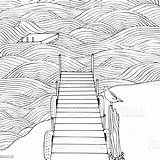 Waves Coloring Pier Adult Seascape Wooden Sea Vector Illustration sketch template