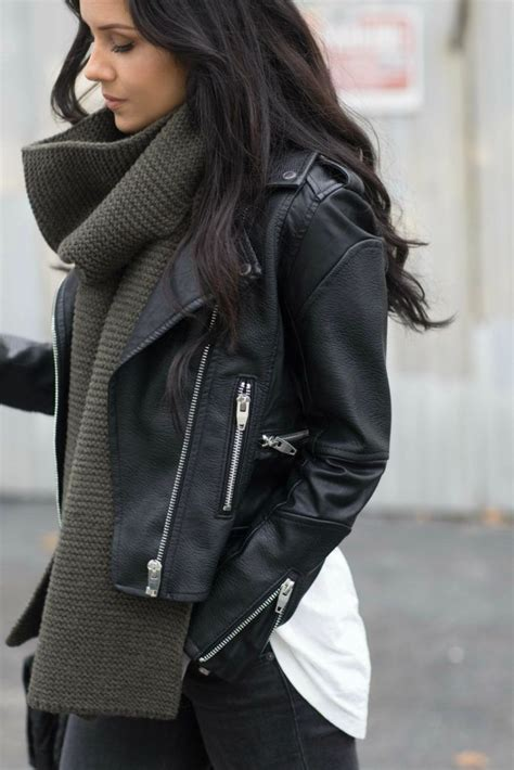 Oversized Scarf Leather Moto Jacket Stylish Winter