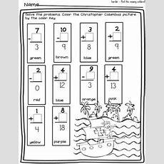 Free Columbus Day Fun Missing Number Worksheetcolor By Number Worksheet