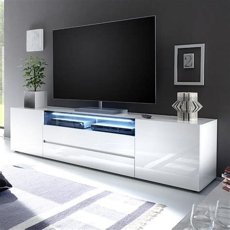 best tables for small spaces genie wide lcd tv stand in white high gloss with 2 doors