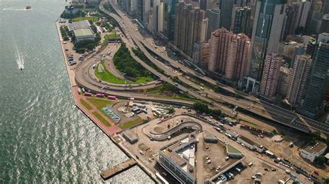 aerial china hong kong downtown waterfront september  sunny day  inspire  aerial video