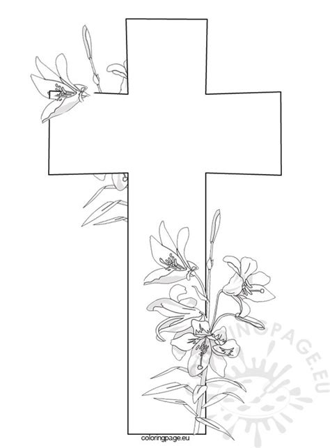 cross  flowers coloring page