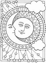 Moon Coloring Sun Printable sketch template