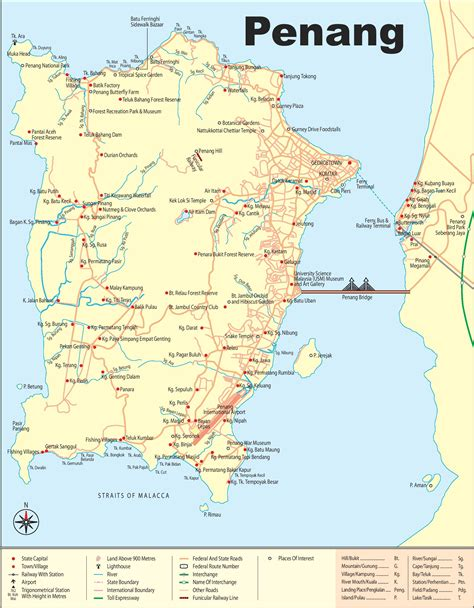 large detailed map  penang