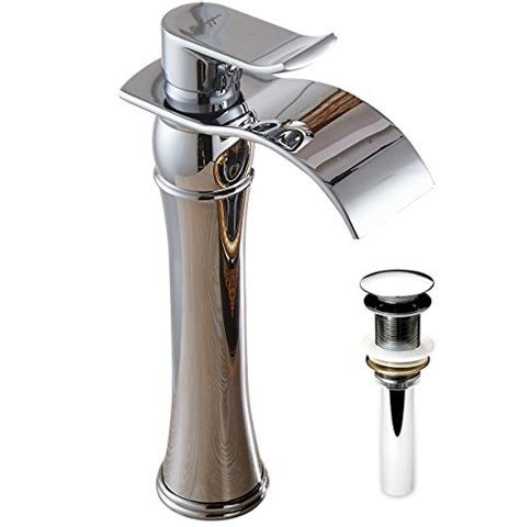 tall vessel sink faucet aquafaucet tall waterfall single handle chrome bathroom