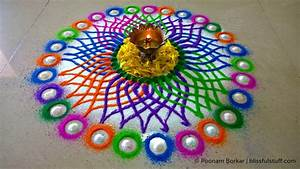 Diwali special rangoli design - Multicolored flower