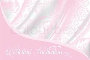 Wedding invitation on light pink lace and silk Vector