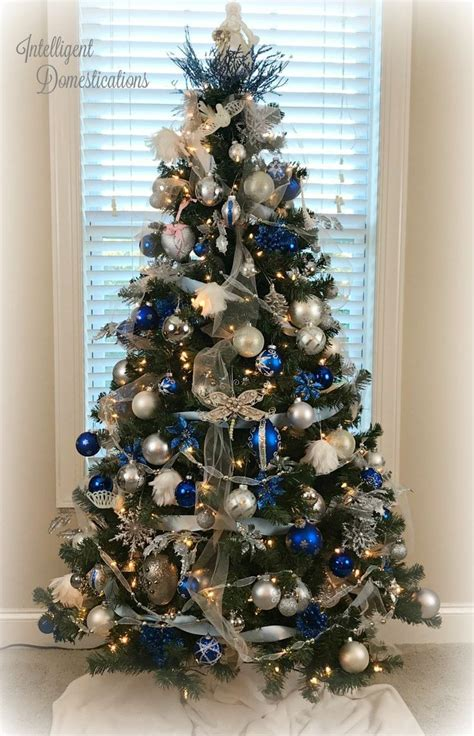 blue  white christmas tree decorations christmas
