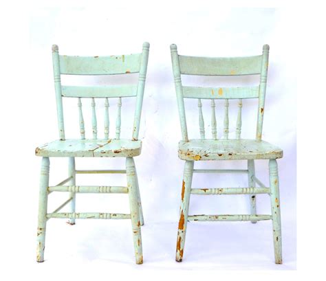 vintage blue spindle  kitchen chairs pair robins egg
