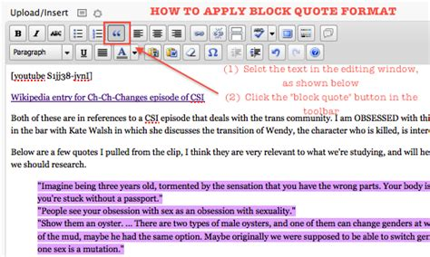 how to apply block quote format in a post digital