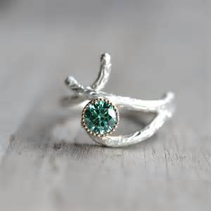 silver 14k yellow gold branch engagement ring green moissanite - Branch Engagement Ring
