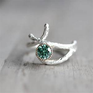 silver 14k yellow gold branch engagement ring green moissanite With branch wedding ring