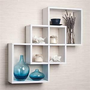 Decorative wall shelves astonishing three white finish
