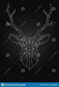 Deer Head Linear Wire Ow Poly Style Stock Vector
