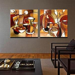unframed 2 panel handmade flower cup set abstract modern With kitchen cabinets lowes with abstract art wall murals