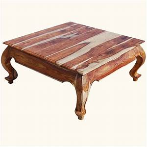 large solid wood handmade opium square coffee table With big wooden coffee table