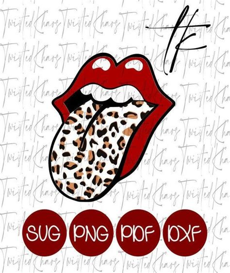 rolling stone leopard svg png  dxf leopard tongue
