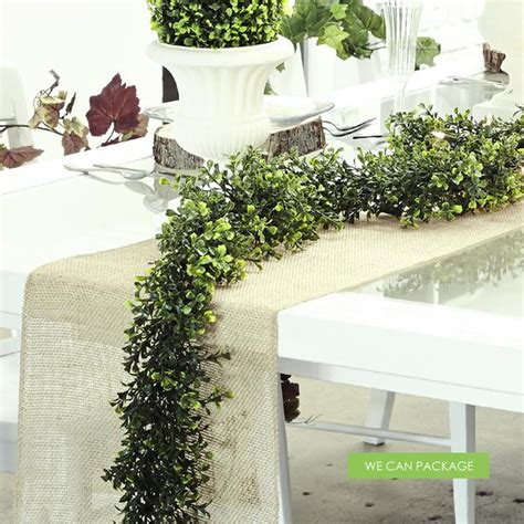 boxwood garland rustic table runner   package