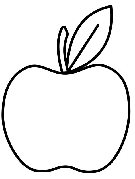 simple apple  art coloring page  preschool apple