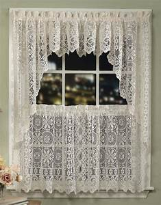 Jacquard penny flower lace curtains sturbridge yankee for Lace kitchen window curtains