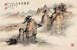 Chinese art vintage nature landscape chinese paintings