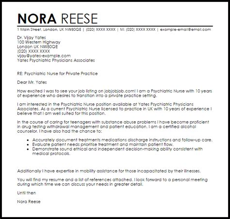 Psychiatric Cover Letter by Psychiatric Cover Letter Sle Cover Letter