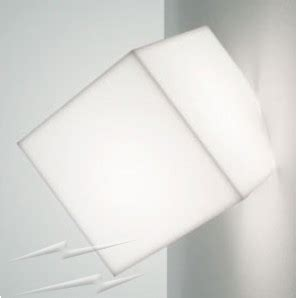 ay200 artemide edge 21 wall ceiling light with white cubic diffuser